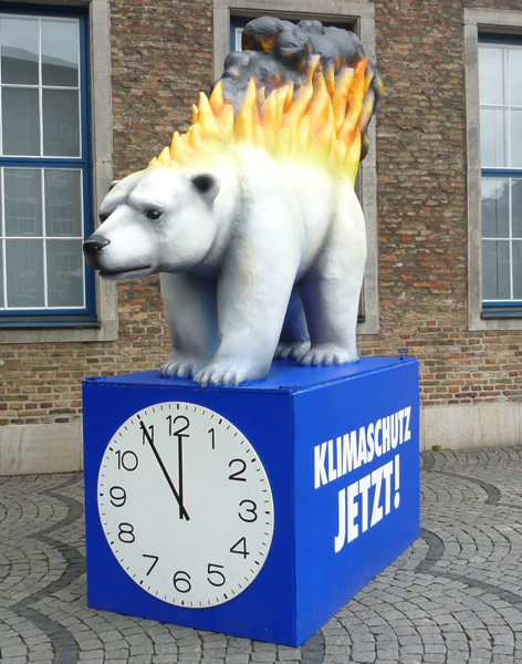 An burning Icebear pledges for Climate-Saving-Now! It is 5 to 12.